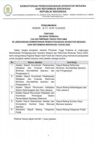 Kementerian PANRB Buka Seleksi Jabatan Pimpinan Tinggi Pratama